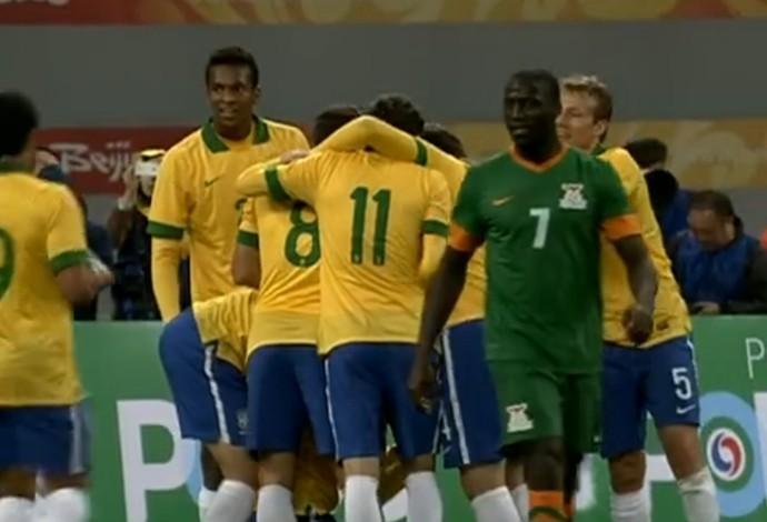Brasil x Zâmbia (Foto: Reprodução SporTV)