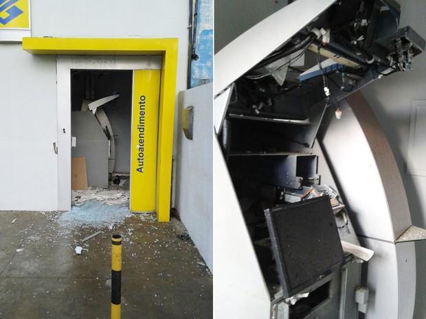 Em Extremoz, bandidos tentaram arrombar o caixa usando dinamite. Segundo a PM, explosão danificou o terminal, mas o dinheiro não foi levado (Foto: PM/Divulgação)