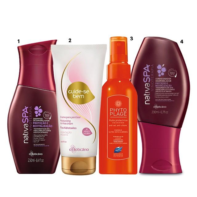 1 Xampu para cabelos loiros Nativa SPA Vinoterapia com filtro UV, R$ 32, O Boticário 2 Creme para pentear Hidratação Imediata Cuide-se Bem, R$ 26, O Boticário 3 Óleo protetor pós-sol Phytoplage, R$ 180, Phyto 4 Condicionador para cabelos loiros Nativa SPA Vinoterapia com filtro UV, R$ 34, O Boticário (Foto: divulgação)