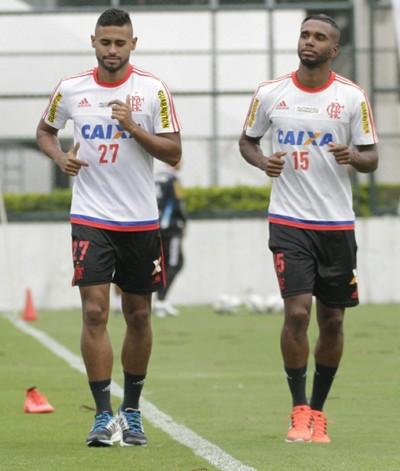 César Martins, Jorge, Kayke e Márcio Araújo treinam na Gávea, Flamengo (Foto: Gilvan de Souza/ Fla Imagem)