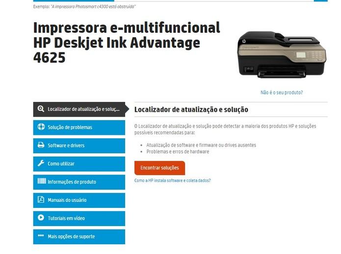 Página de assistência técnica de um modelo de impressora da HP (Foto: Reprodução/HP)