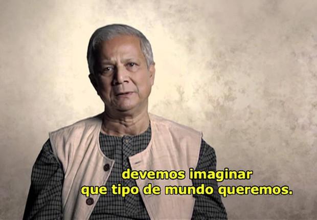 Muhammad Yunus, vencedor do prêmio Nobel da Paz com seu programa de microcrédito em Bangladesh, é um dos destaques do documentário Quem se Importa (Foto: Reprodução/YouTube)