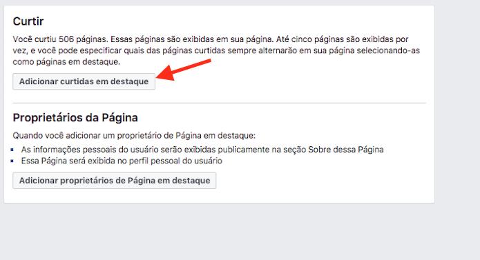 Botão para acessar a página de configuração para curtidas em destaque em uma página do Facebook (Foto: Reprodução/Marvin Costa)