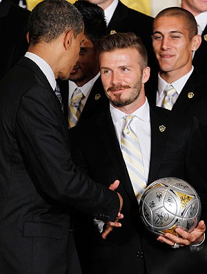 Obama recebe o time de Beckham na Casa Branca (Foto: AP)