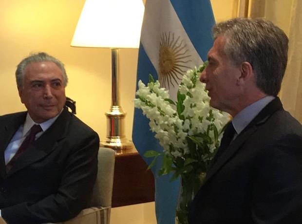 O presidente Michel Temer durante reunião com o colega argentino, Mauricio Macri (Foto: Reprodução/Twitter de Mauricio Macri)