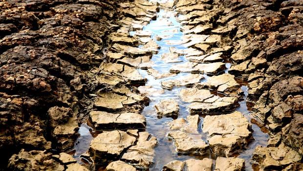 Imagem da represa Jaguari-Jacareí na cidade de Joanópolis, no interior de São Paulo. Segundo a SABESP, o sistema opera com 5,1% da capacidade total na sua reserva técnica   (Foto: Luis Moura/WPP / Agência O Globo)