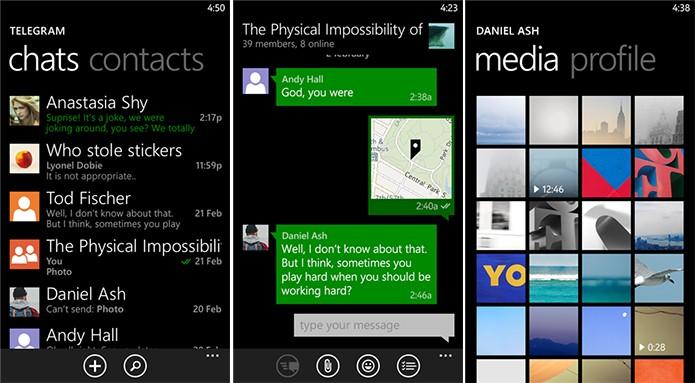 Telegram é um mensageiro para Windows Phone com funcionalidades semelhantes ao WhatsApp (Foto: Divulgação/Windows Phone Store)