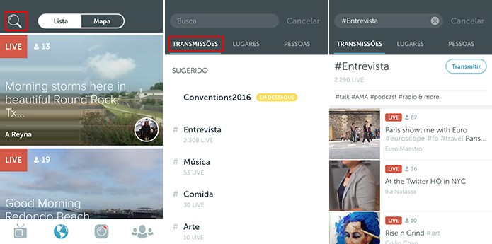 Periscope possui Trending Topics interno com assuntos mais transmitidos (Foto: Reprodução/Elson de Souza)