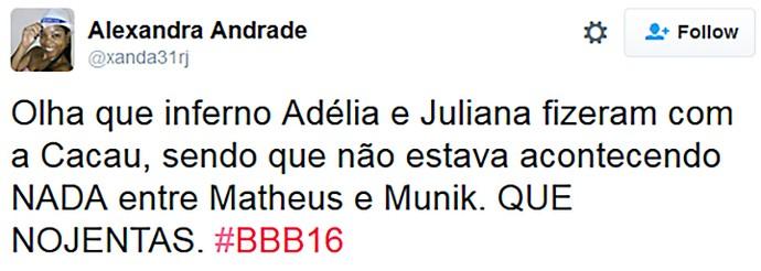 Twitter Festa Paranormal_ 04/02_Adelia e Juliana_critica  (Foto: TV Globo)