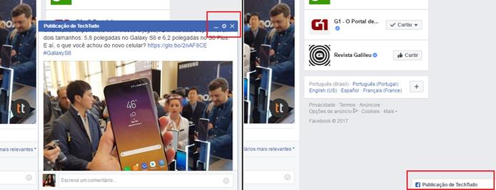 Posts em guias do Facebook podem ser minimizados pelo usuário  (Foto: Reprodução/Gabrielle Lancellotti)