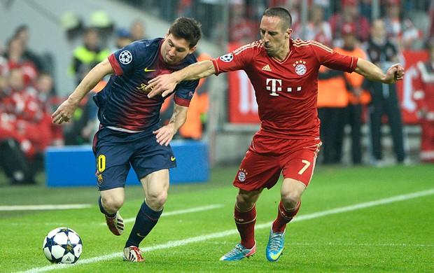 Messi e Ribery, Bayern de Munique x Barcelona (Foto: AFP)