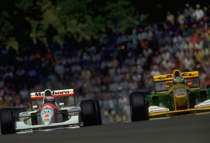Ford Benetton Schumacher e McLaren Gerard Beger 1992 (Foto: Getty)