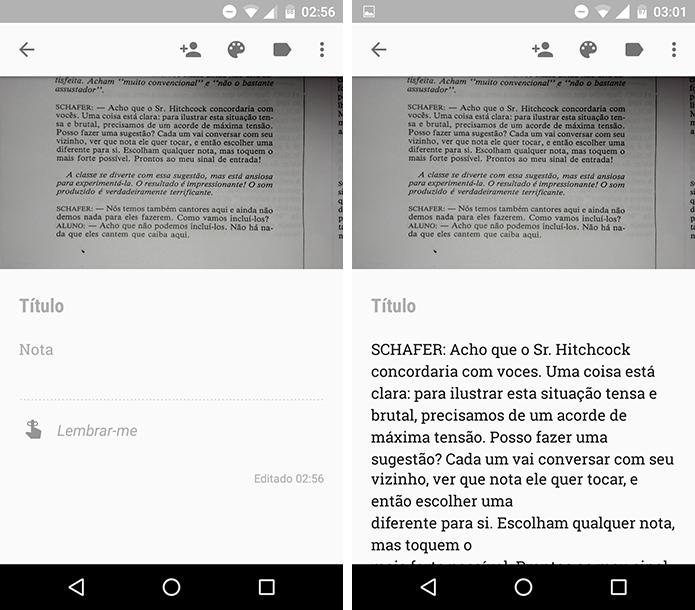 Texto transcrito no Google Keep. (Foto: Reprodução/Alessandro Junior)