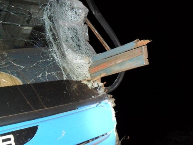Ripas de madeira por pouco não atingiram o motorista (Foto: João Trentini)