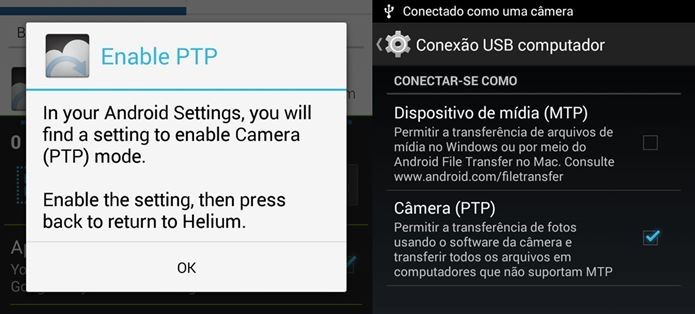 Em alguns aparelhos é preciso mudar a conectividade USB para Câmera PTP (Foto: Reprodução / Dario Coutinho)