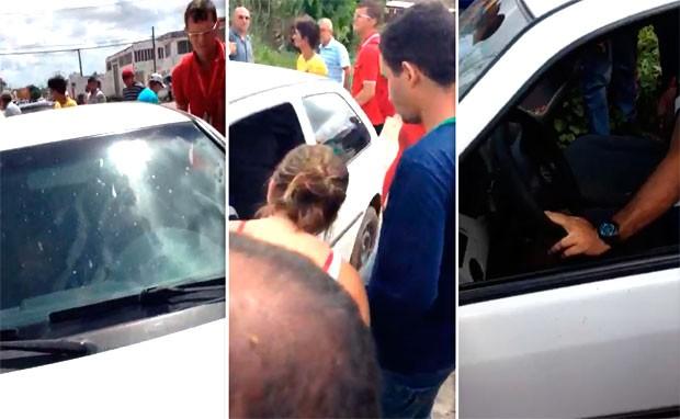 Casal foi baleado dentro do carro; homem morreu na hora e mulher foi socorrida ao hospital (Foto: Divulgação/PM do RN)