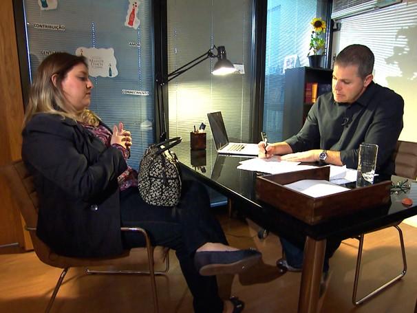 Angelica recebe orientação do coach de carreiras Mauricio Sampaio (Foto: Globo)