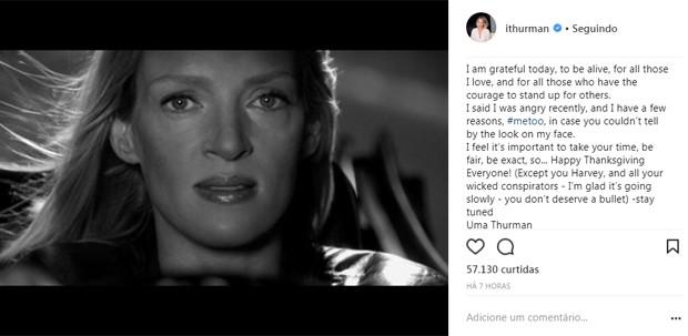 Uma Thurman solta o verbo ao falar de Harvey Weinstein (Foto: Reprodução/Instagram)