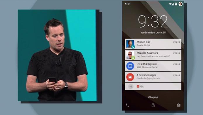 Android L terá notificações na tela de bloqueio como o iOS da Apple (Foto: Reprodução/Google)