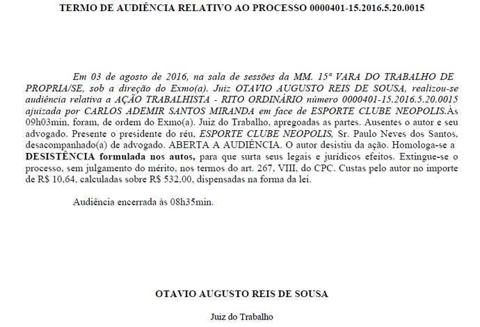 Termo de audiência Carlinhos Neópolis Sergipe Juventude Série C (Foto: Reprodução)