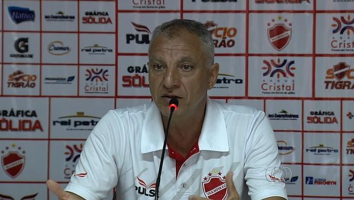 Márcio Fernandes - técnico Vila Nova (Foto: Reprodução / TV Anhanguera)