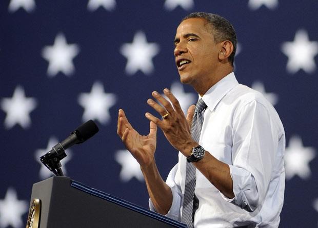 O presidente dos EUA, Barack Obama, faz campanha eleitoral em Las Vegas, Nevada, nesta quarta-feira (12) (Foto: AP)