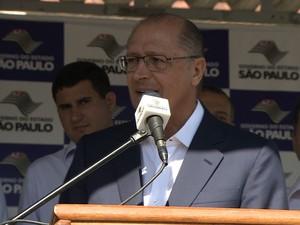 Governador fez a afirmação durante visita a Taubaté, no interior de São Paulo. (Foto: Reprodução/ Tv Vanguarda)