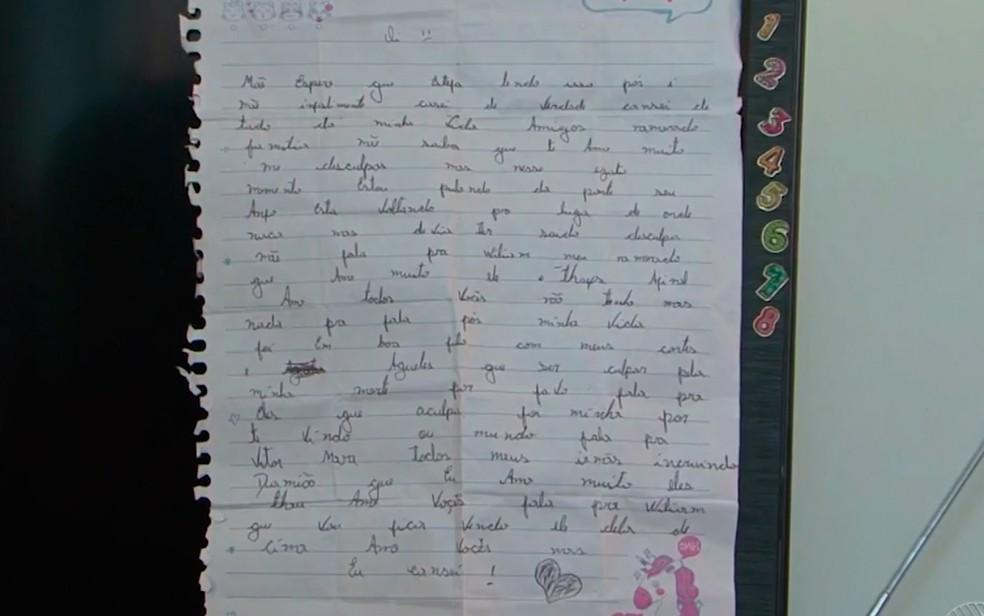 Garota deixou carta para os familiares antes de sumir (Foto: Reprodução/ TV São Francisco)