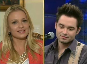 Noiva de Fernando diz que está muito feliz por casar com o cantor (Foto: Domingão do Faustão / TV Globo)