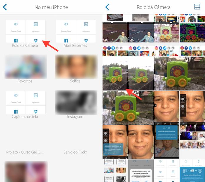 Opção para importar fotos da biblioteca do celular para o Photoshop Fix (Foto: Reprodução/Marvin Costa)