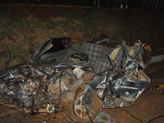 Colisão entre carro e caminhão matou motorista em Seberi (RS) (Foto: PRF/Divulgação)