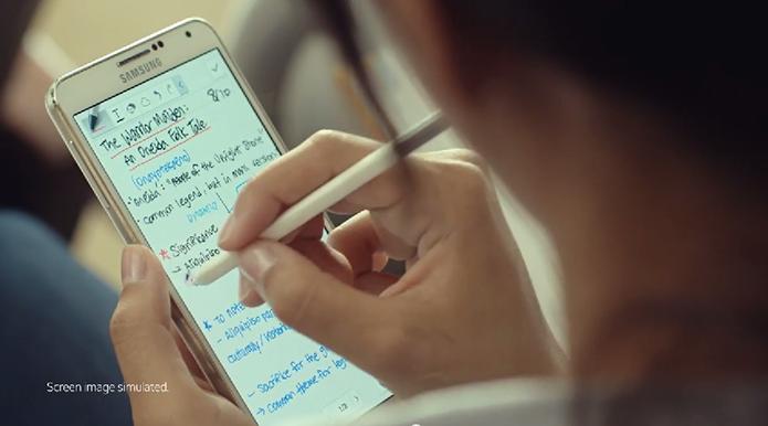 Somente Galaxy Note 3 foi mostrado durante o vídeo, deixando  o novo design ainda por ser revelado dia 3 (Foto: Reprodução/Samsung)