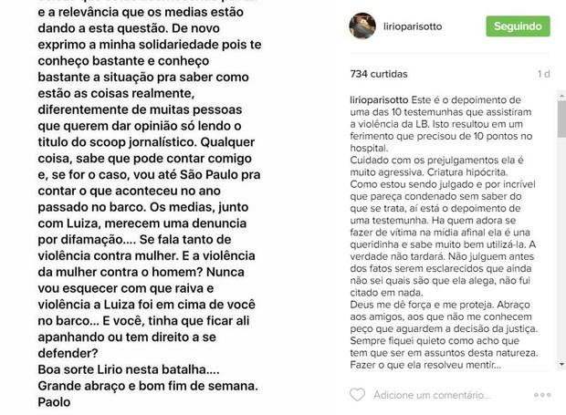 Lirio A Parisotto faz post no Instagram (Foto: Reprodução / Instagram)