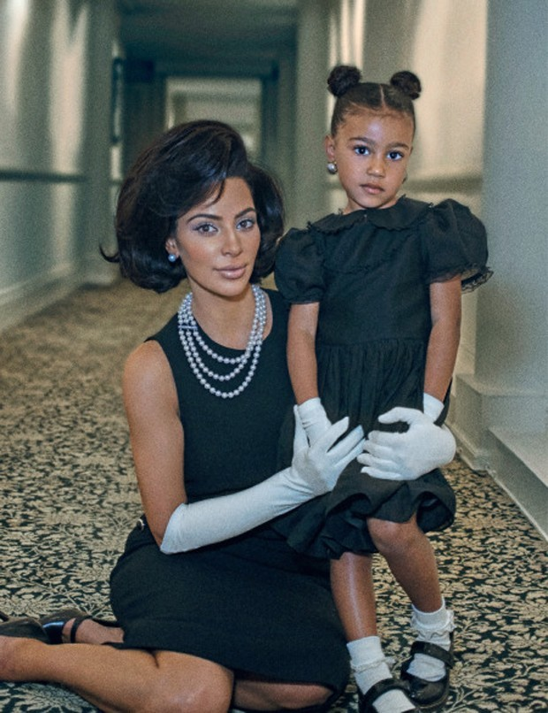 Kim Kardashian e North West (Foto: Steven Klein for Interview Magazine/Divulgação)