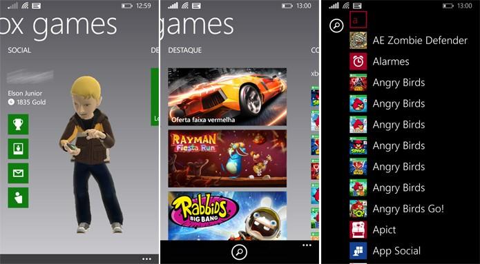 Hub de games perdeu espaço no Windows Phone 8.1 já que jogos também foram adicionados à lista de apps (Foto: Reprodução/Elson de Souza)