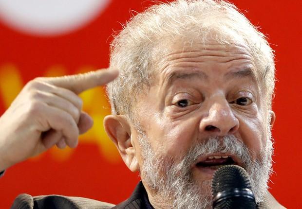 O ex-presidente Luiz Inácio Lula da Silva discursa durante Congresso do PT em São Paulo (Foto: Leonardo Benassatto/Reuters)