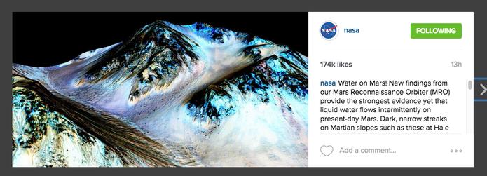 Instagram da Nasa (@NASA) tem mais de cinco milhões de seguidores e 1,384 posts  (Foto: Reprodução/Instagram)