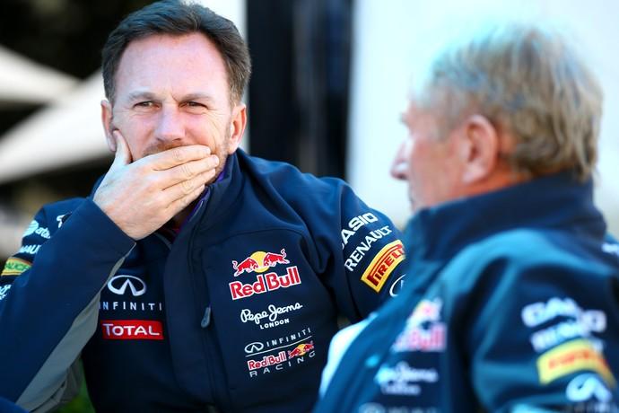Christian Horner e Helmut Marko no GP da Austrália de 2015 (Foto: Getty Images)