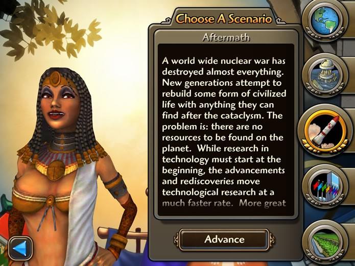Em Play a Scenario o jogador poderá escolher uma série de cenários com características e condições de vitória especiais (Foto: Reprodução/Daniel Ribeiro)