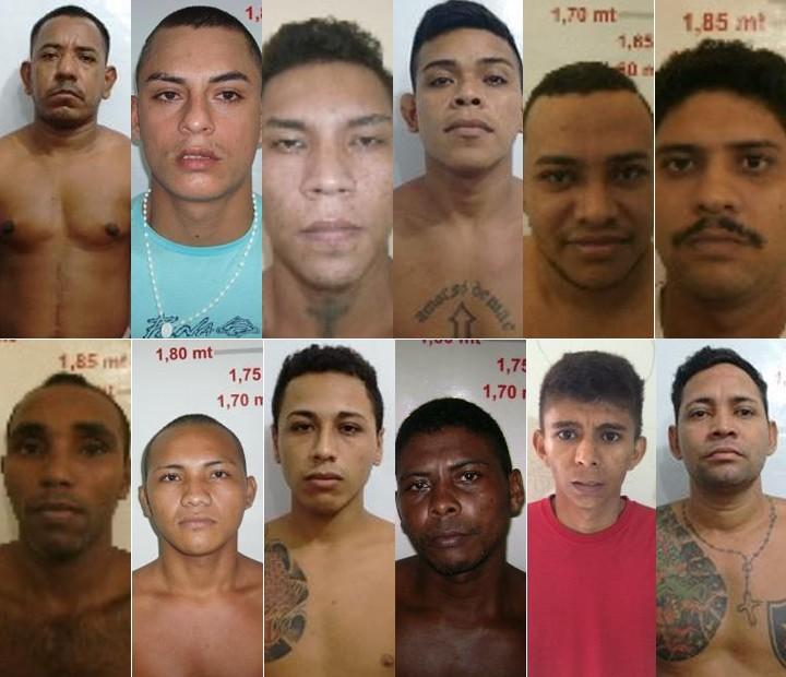 Doze dos treze detentos que fugiram provocando falta de energia no presídio (Foto: Ascom Susipe/Divulgação)