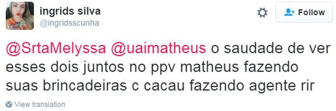 Tweet Catheus (Foto: Reprodução da Internet)