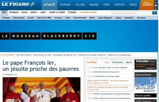 """Versão digital do francês """"Le Figaro"""" grifou a atuação em defesa dos pobres do jesuíta eleito Papa (Foto: Reprodução)"""