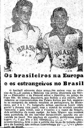 """Jogadores do Brasil posam para a foto após vitória de 5 a 1 sobre a Holanda (Foto: Reprodução jornal """"O Globo"""")"""