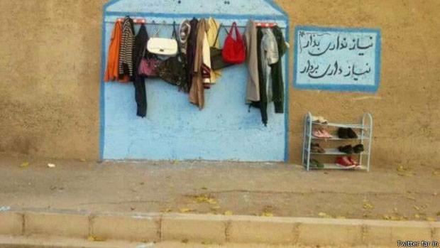 Este 'muro da gentileza' apareceu na cidade de Esfahan  (Foto: Twitter far in)