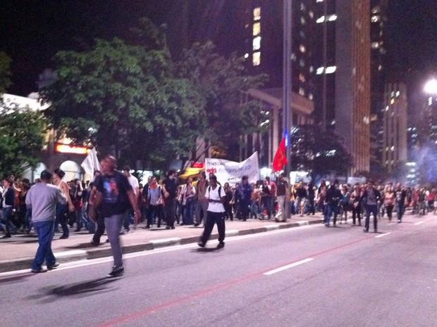 Cerca de mil pessoas participaram da manifestação contra o preço da passagem (Foto: Ana Carolina Moreno/G1)
