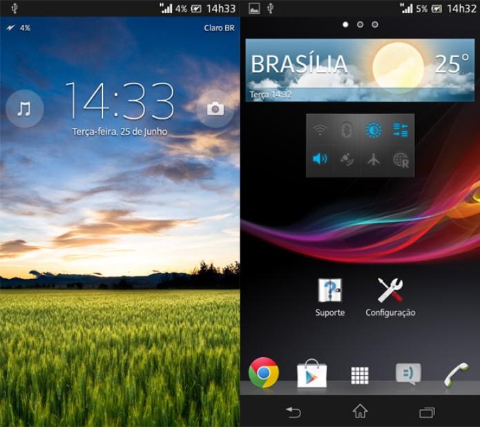 A boa resolução da tela do Xperia SP pode ser vista da tela de bloqueio (à esquerda) e na tela inicial (Foto: Isadora Díaz/TechTudo)