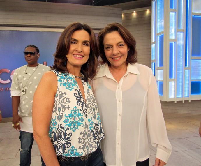 Fátima ao lado da atriz Rosi Campos (Foto: Viviane Figueiredo Neto/Gshow)