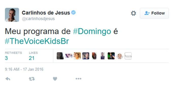 Carlinhos do Jesus comenta Audições do The Voice Kids em rede social (Foto: Reprodução)