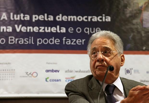 O ex-presidente Fernando Henrique Cardoso, em evento que discutiu a democracia na Venezuela  (Foto: Vinicius Doti/Fundação FHC)