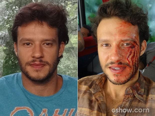 O ator Fernando Rodrigues antes e depois do processo de maquiagem (Foto: Em Família/TV Globo)